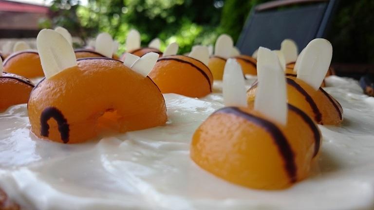 Bienchen aus Aprikosen und Bienchenkuchen für Schleckermäulchen